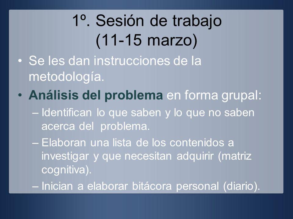 1º. Sesión de trabajo (11-15 marzo) Se les dan instrucciones de la metodología. Análisis del problema en forma grupal: –Identifican lo que saben y lo