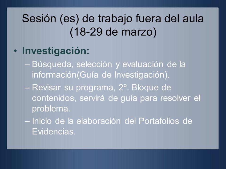 Sesión (es) de trabajo fuera del aula (18-29 de marzo) Investigación: –Búsqueda, selección y evaluación de la información(Guía de Investigación). –Rev