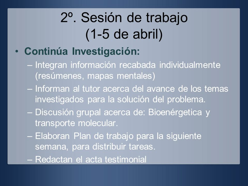 2º. Sesión de trabajo (1-5 de abril) Continúa Investigación: –Integran información recabada individualmente (resúmenes, mapas mentales) –Informan al t
