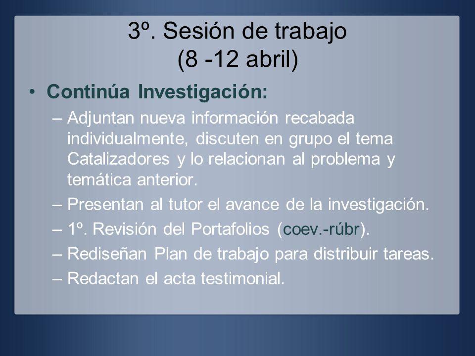 3º. Sesión de trabajo (8 -12 abril) Continúa Investigación: –Adjuntan nueva información recabada individualmente, discuten en grupo el tema Catalizado