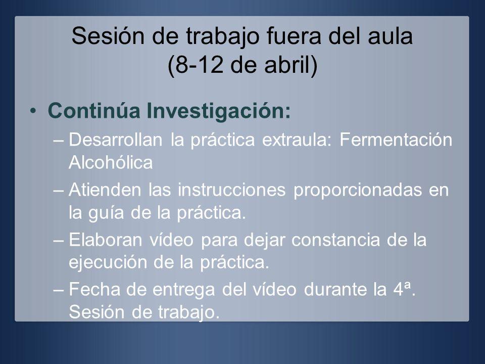 Sesión de trabajo fuera del aula (8-12 de abril) Continúa Investigación: –Desarrollan la práctica extraula: Fermentación Alcohólica –Atienden las inst
