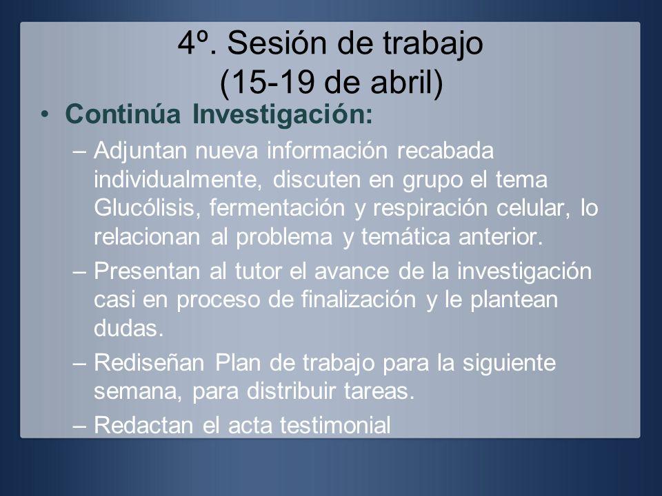 4º. Sesión de trabajo (15-19 de abril) Continúa Investigación: –Adjuntan nueva información recabada individualmente, discuten en grupo el tema Glucóli