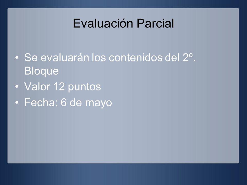 Evaluación Parcial Se evaluarán los contenidos del 2º. Bloque Valor 12 puntos Fecha: 6 de mayo