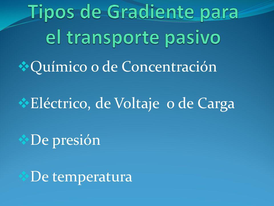 Químico o de Concentración Eléctrico, de Voltaje o de Carga De presión De temperatura