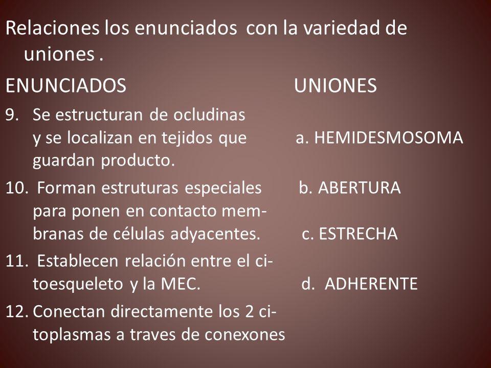 Relaciones los enunciados con la variedad de uniones. ENUNCIADOS UNIONES 9.Se estructuran de ocludinas y se localizan en tejidos que a. HEMIDESMOSOMA