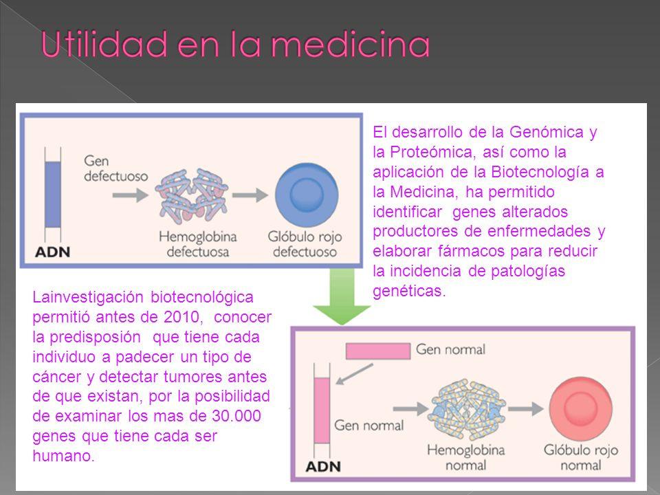 El desarrollo de la Genómica y la Proteómica, así como la aplicación de la Biotecnología a la Medicina, ha permitido identificar genes alterados produ