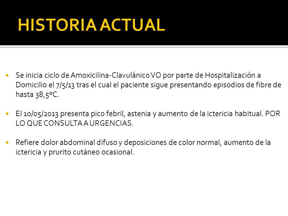 Se inicia ciclo de Amoxicilina-Clavulánico VO por parte de Hospitalización a Domicilio el 7/5/13 tras el cual el paciente sigue presentando episodios