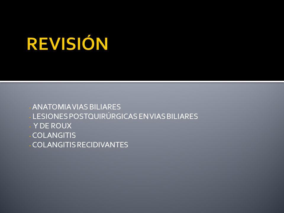 - ANATOMIA VIAS BILIARES - LESIONES POSTQUIRÚRGICAS EN VIAS BILIARES - Y DE ROUX - COLANGITIS - COLANGITIS RECIDIVANTES