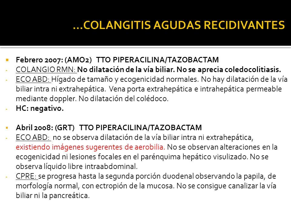 Febrero 2007: (AMO2) TTO PIPERACILINA/TAZOBACTAM - COLANGIO RMN: No dilatación de la vía biliar. No se aprecia coledocolitiasis. - ECO ABD: Hígado de