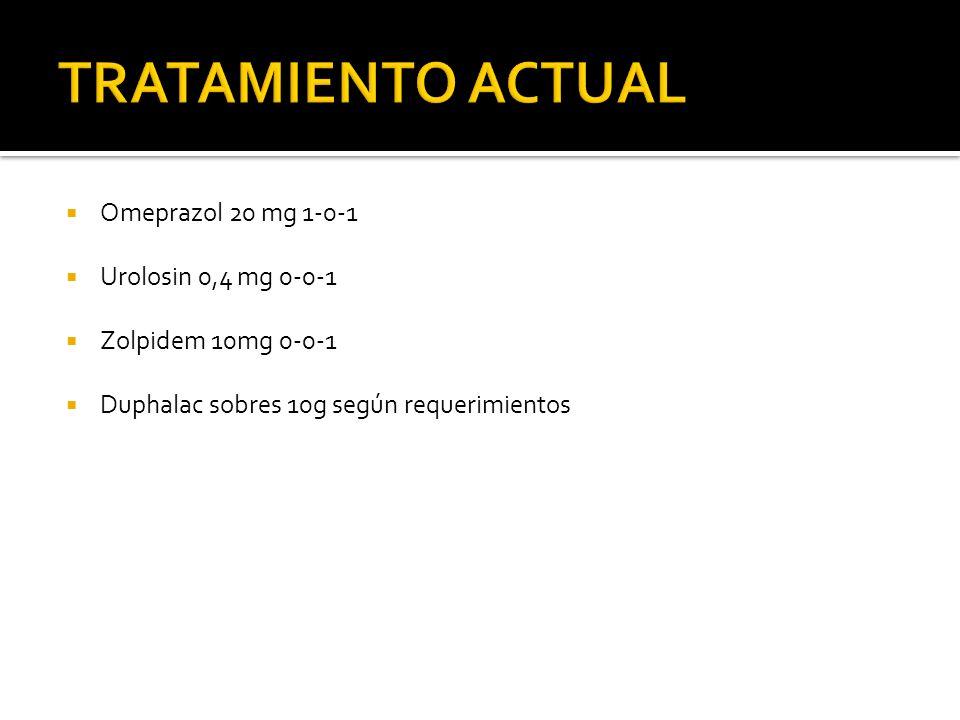 Omeprazol 20 mg 1-0-1 Urolosin 0,4 mg 0-0-1 Zolpidem 10mg 0-0-1 Duphalac sobres 10g según requerimientos