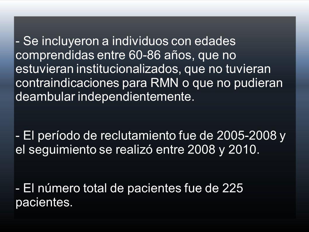 - Se incluyeron a individuos con edades comprendidas entre 60-86 años, que no estuvieran institucionalizados, que no tuvieran contraindicaciones para RMN o que no pudieran deambular independientemente.