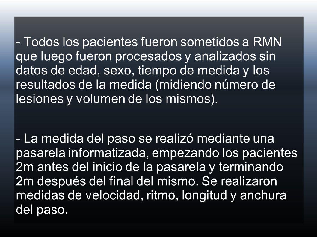 - Todos los pacientes fueron sometidos a RMN que luego fueron procesados y analizados sin datos de edad, sexo, tiempo de medida y los resultados de la medida (midiendo número de lesiones y volumen de los mismos).