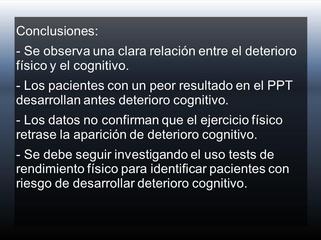 Conclusiones: - Se observa una clara relación entre el deterioro físico y el cognitivo.