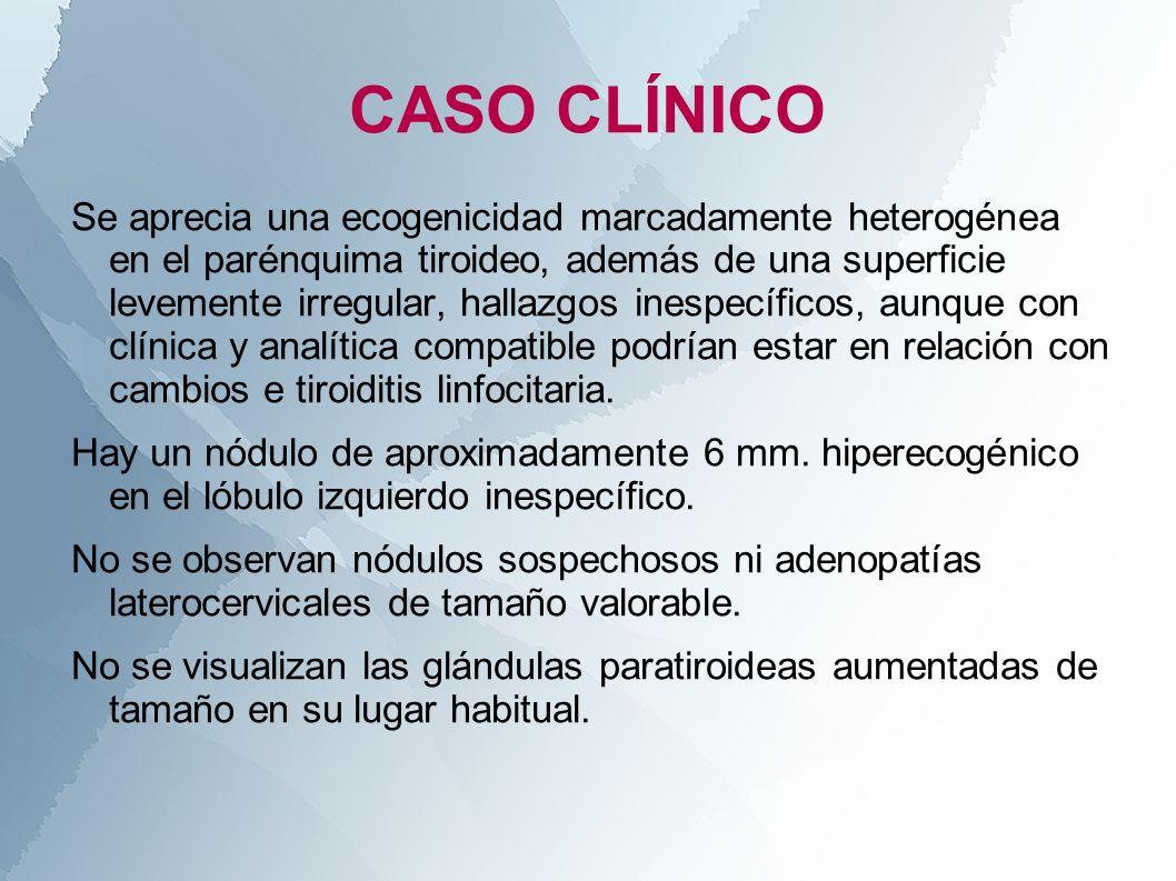Se aprecia una ecogenicidad marcadamente heterogénea en el parénquima tiroideo, además de una superficie levemente irregular, hallazgos inespecíficos,