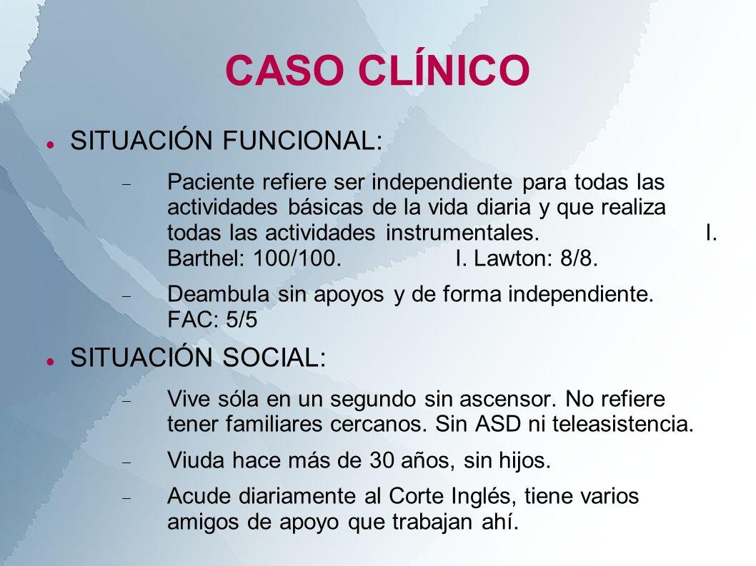 CASO CLÍNICO SITUACIÓN FUNCIONAL: Paciente refiere ser independiente para todas las actividades básicas de la vida diaria y que realiza todas las acti