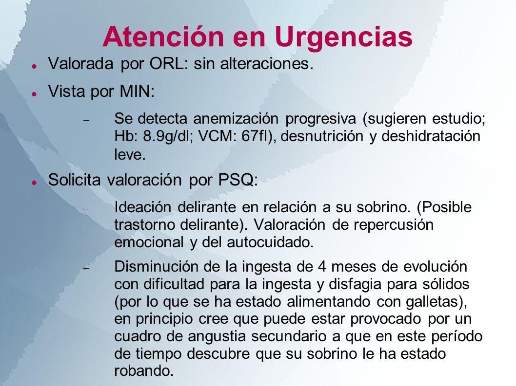 Atención en Urgencias Valorada por ORL: sin alteraciones. Vista por MIN: Se detecta anemización progresiva (sugieren estudio; Hb: 8.9g/dl; VCM: 67fl),