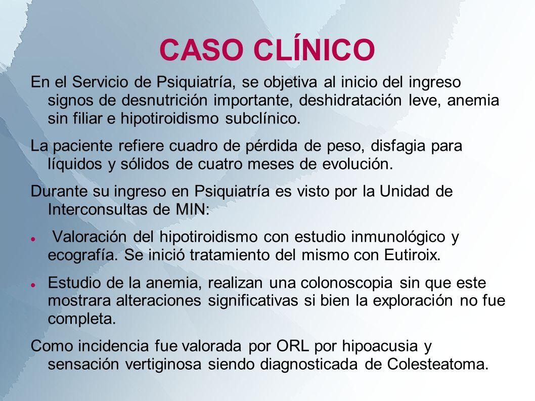 CASO CLÍNICO En el Servicio de Psiquiatría, se objetiva al inicio del ingreso signos de desnutrición importante, deshidratación leve, anemia sin filia