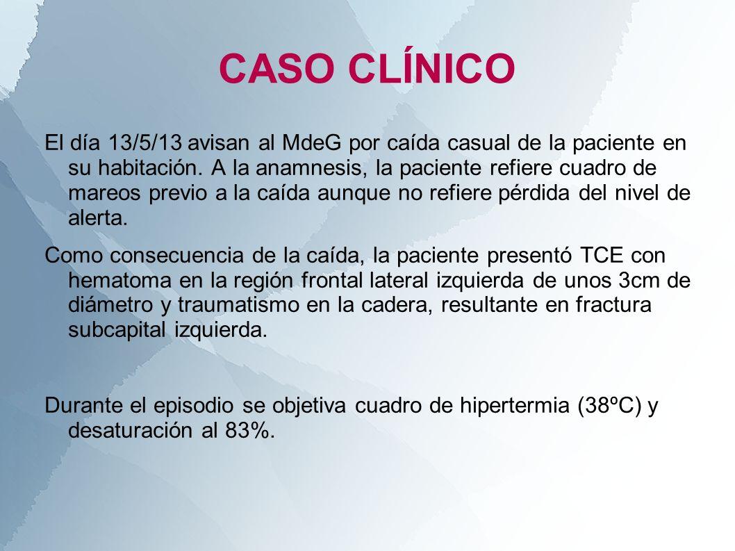 CASO CLÍNICO El día 13/5/13 avisan al MdeG por caída casual de la paciente en su habitación. A la anamnesis, la paciente refiere cuadro de mareos prev