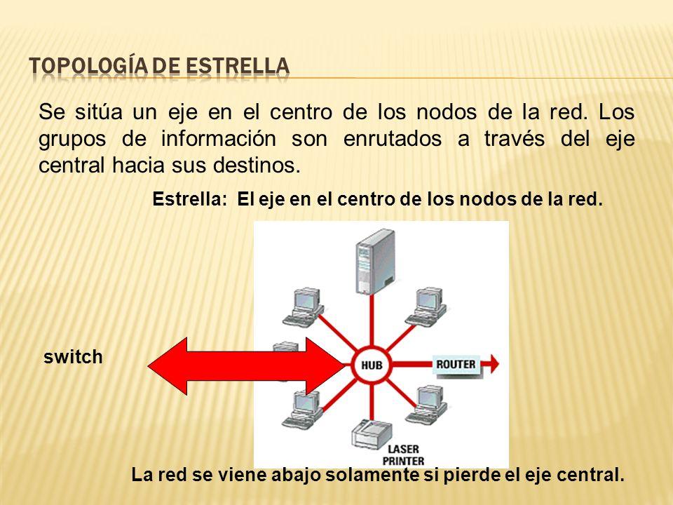 Se sitúa un eje en el centro de los nodos de la red.