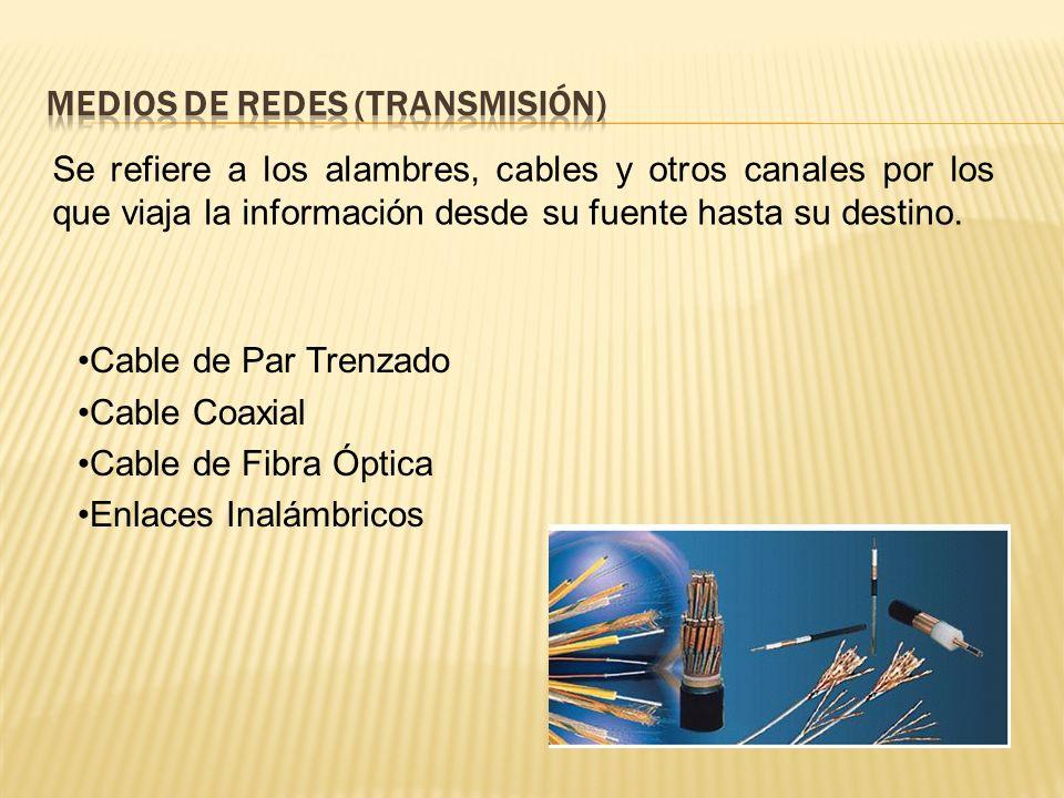 Se refiere a los alambres, cables y otros canales por los que viaja la información desde su fuente hasta su destino.