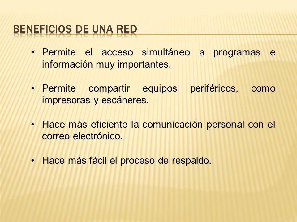 SHARED DATA, PROGRAMS AND BACKUPS IMPRESORA LÁSER COMÚN Computadoras personales en una red de área local (LAN) ESCÁNER DE CAMA PLANA DISPO- SITIVO DE USO COMÚN COMPARTE DATOS, PROGRAMAS Y RESPALDOS