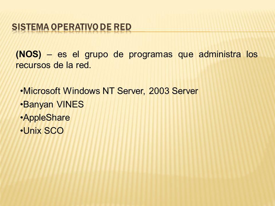 (NOS) – es el grupo de programas que administra los recursos de la red.
