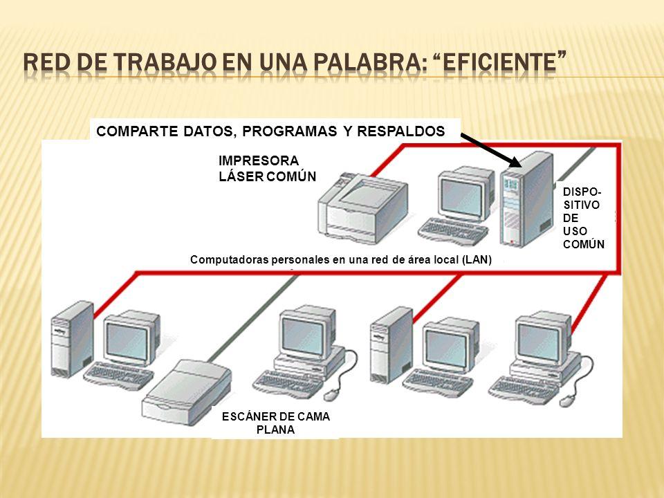 LAN (Red de Área Local): Sistema de computadoras personales localizadas relativamente cerca unas de otras y conectadas por cables.