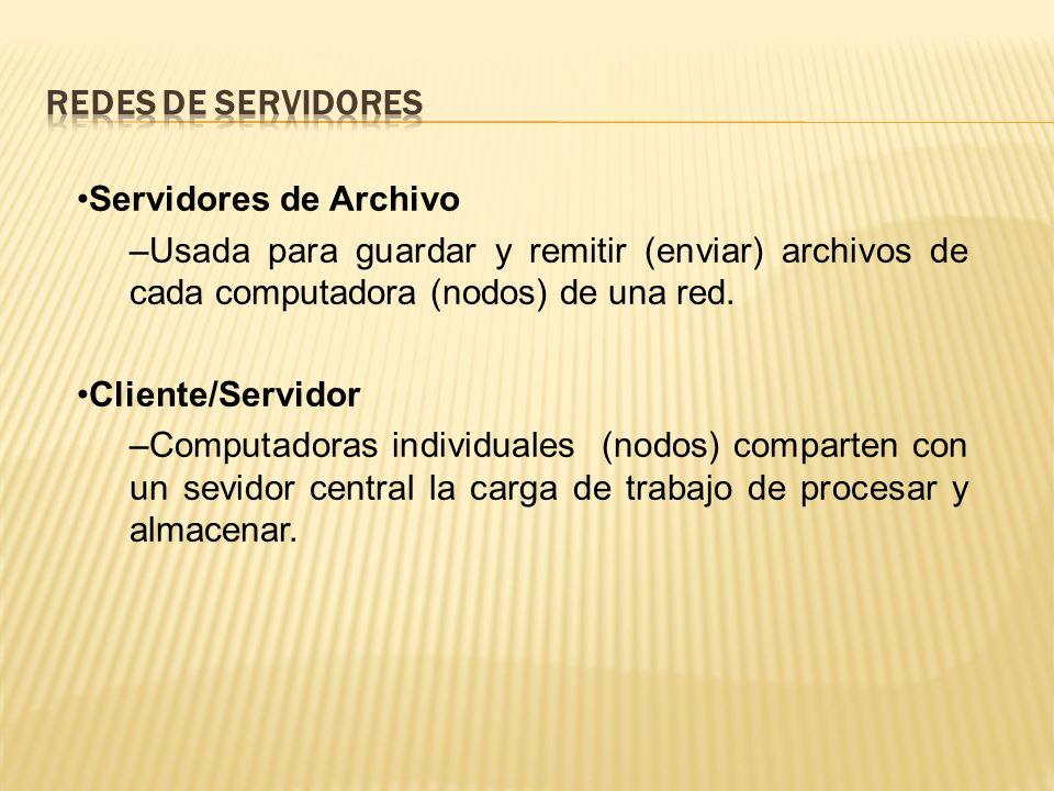 Servidores de Archivo –Usada para guardar y remitir (enviar) archivos de cada computadora (nodos) de una red.