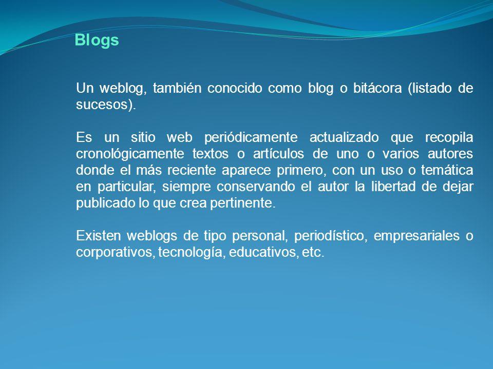 Un weblog, también conocido como blog o bitácora (listado de sucesos).