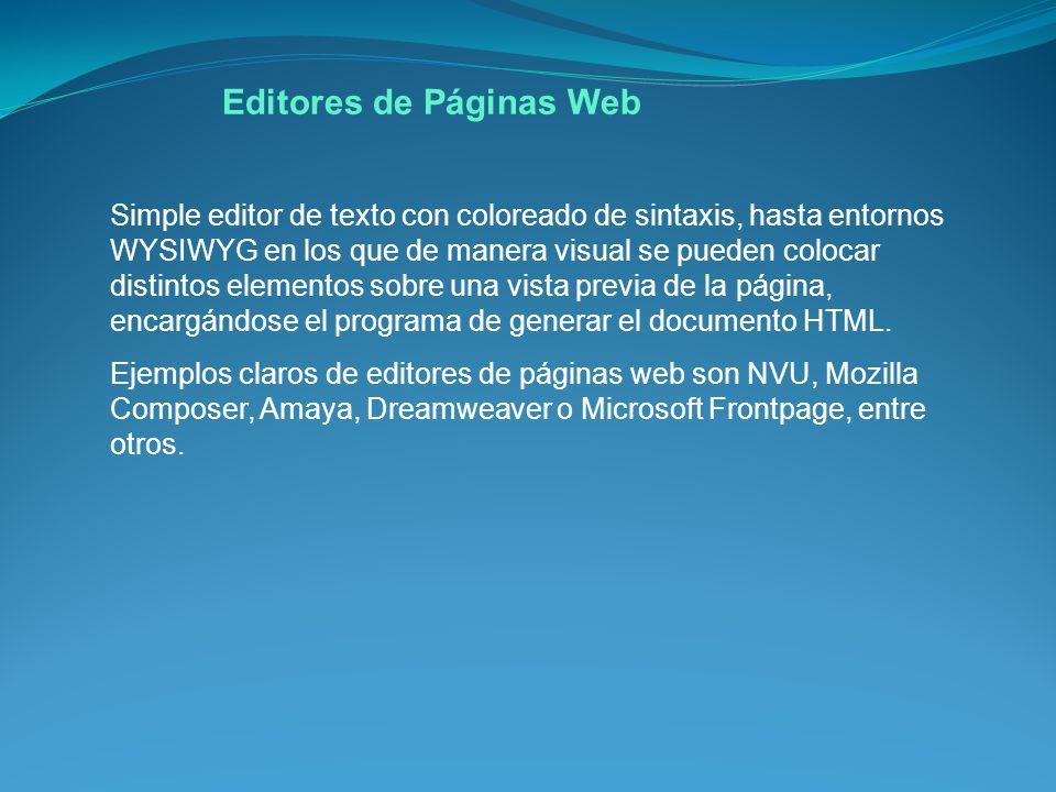 Simple editor de texto con coloreado de sintaxis, hasta entornos WYSIWYG en los que de manera visual se pueden colocar distintos elementos sobre una vista previa de la página, encargándose el programa de generar el documento HTML.
