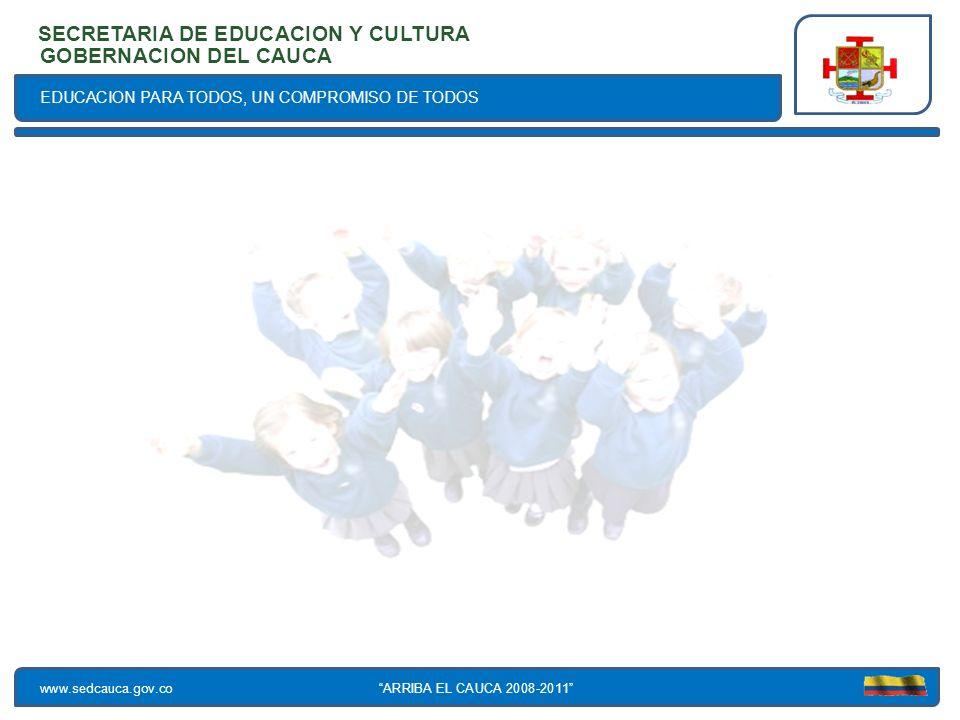 EDUCACION PARA TODOS, UN COMPROMISO DE TODOS SECRETARIA DE EDUCACION Y CULTURA www.sedcauca.gov.co GOBERNACION DEL CAUCA ARRIBA EL CAUCA 2008-2011