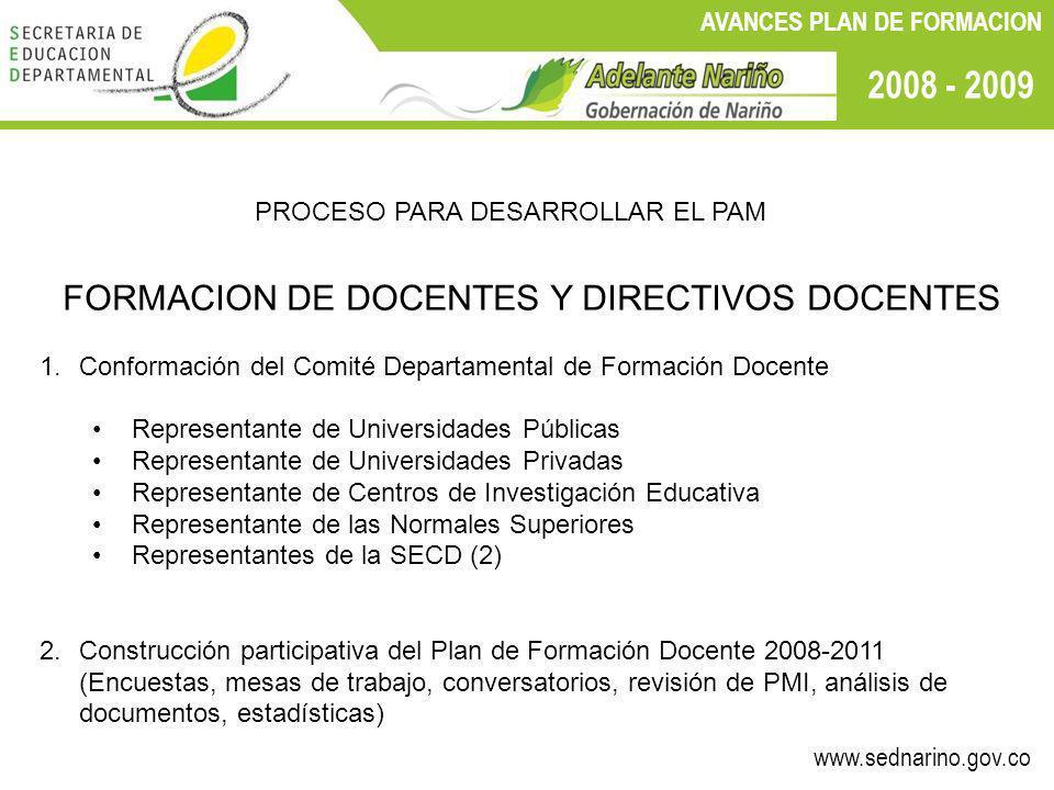 www.sednarino.gov.co 2008 - 2009 AVANCES PLAN DE FORMACION PROCESO PARA DESARROLLAR EL PAM FORMACION DE DOCENTES Y DIRECTIVOS DOCENTES 1.Conformación