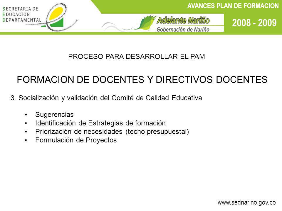 www.sednarino.gov.co 2008 - 2009 AVANCES PLAN DE FORMACION PROCESO PARA DESARROLLAR EL PAM FORMACION DE DOCENTES Y DIRECTIVOS DOCENTES 3. Socializació