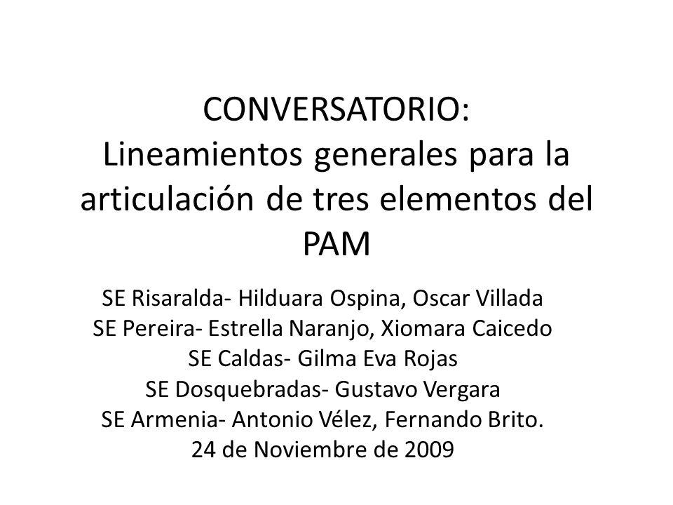 Proceso PAM SE eje cafetero La mayoría de las ET atiende una estructura común, diferenciándose la forma en que se hace el seguimiento y se articula con el Plan de Acción.