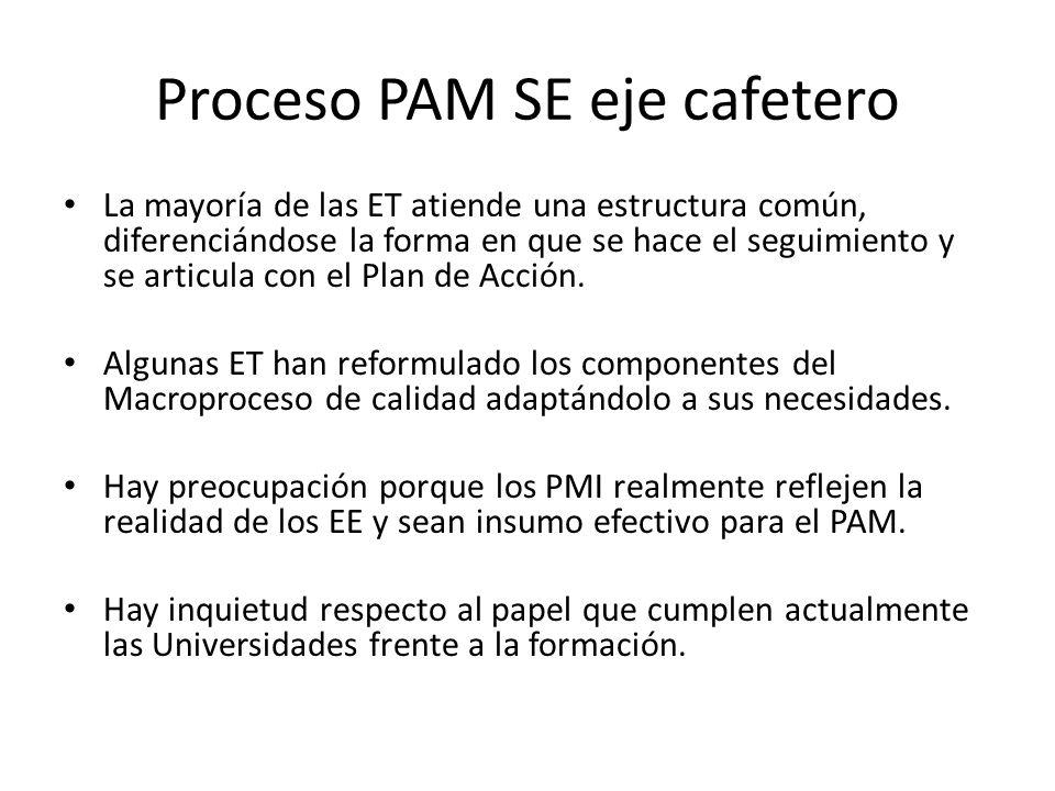 El PAM debe estar articulado con los procesos de modernización de la SE, no deben ser dos procesos distintos.