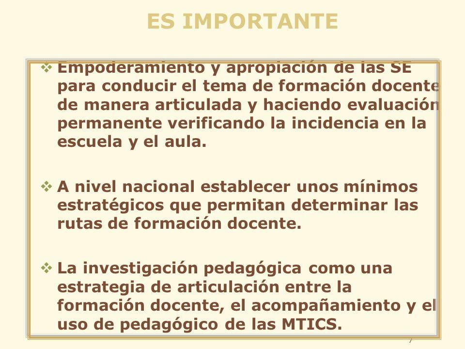 ES IMPORTANTE Empoderamiento y apropiación de las SE para conducir el tema de formación docente de manera articulada y haciendo evaluación permanente verificando la incidencia en la escuela y el aula.