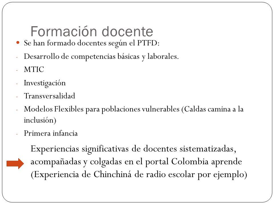 Formación docente Se han formado docentes según el PTFD: - Desarrollo de competencias básicas y laborales.