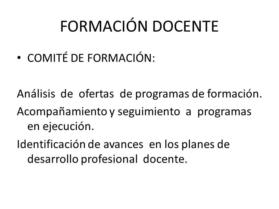 FORMACIÓN DOCENTE COMITÉ DE FORMACIÓN: Análisis de ofertas de programas de formación.