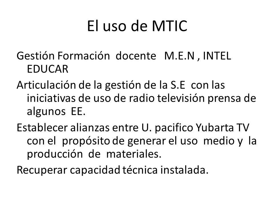 El uso de MTIC Gestión Formación docente M.E.N, INTEL EDUCAR Articulación de la gestión de la S.E con las iniciativas de uso de radio televisión prensa de algunos EE.