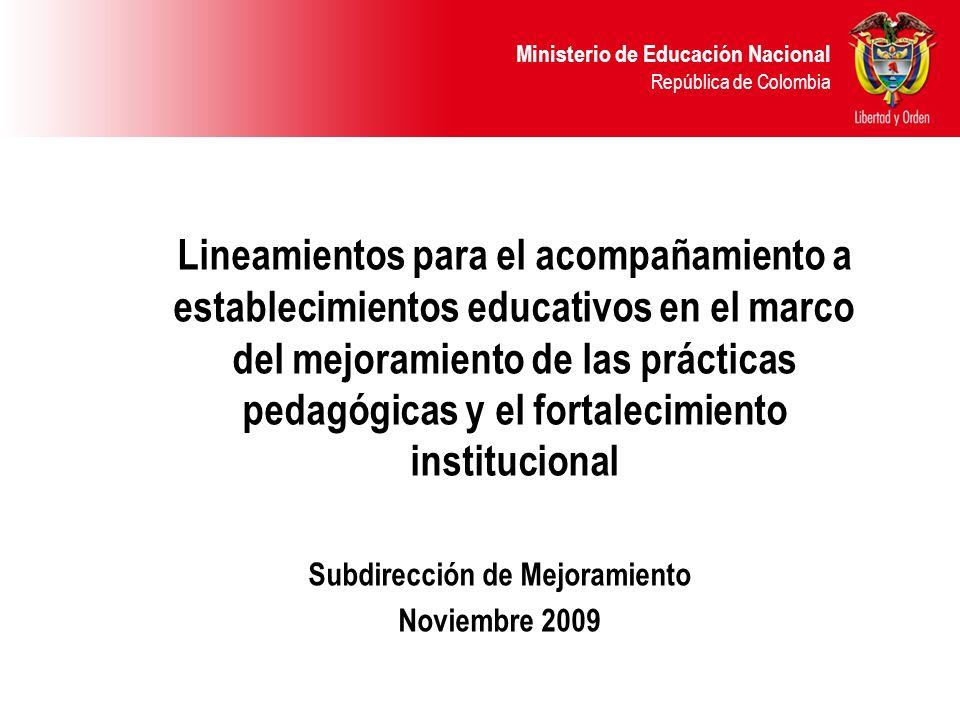 Ministerio de Educación Nacional República de Colombia Política de Calidad Fortalecimiento Institucional de Secretarías de Educación Fortalecimiento Institucional de Establecimientos Educativos Desarrollo profesional de docentes y directivos docentes Desarrollo de competencias de los estudiantes