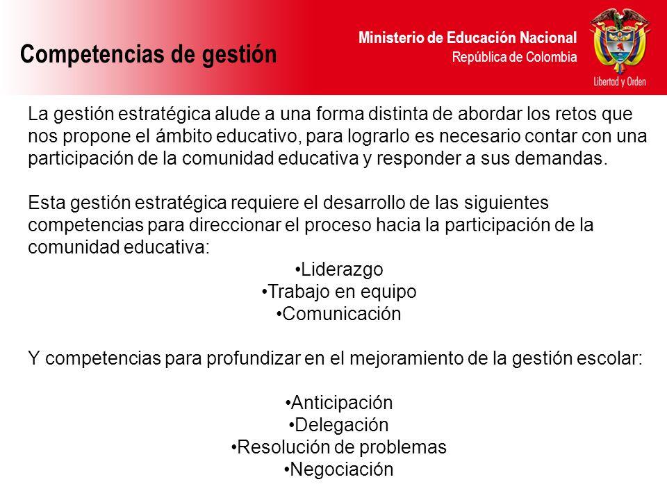 Ministerio de Educación Nacional República de Colombia Competencias de gestión Competencias de gestión o competencias profesionales.