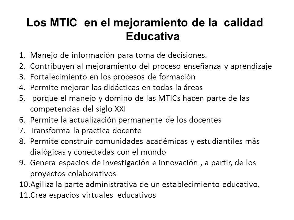 Los MTIC en el mejoramiento de la calidad Educativa 1.Manejo de información para toma de decisiones.