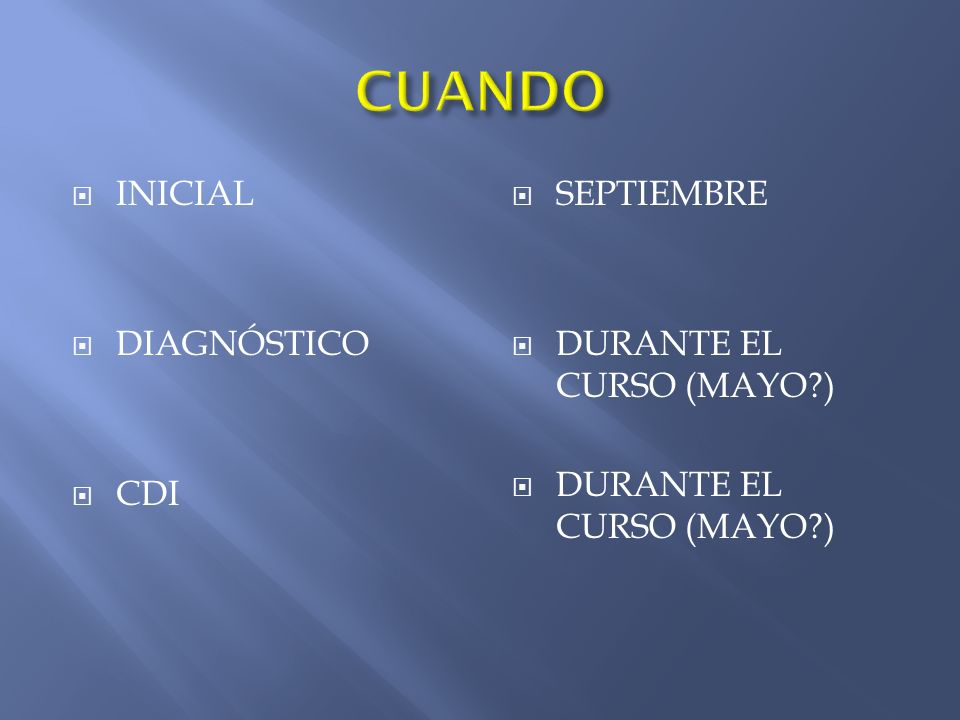 INICIAL DIAGNÓSTICO CDI SEPTIEMBRE DURANTE EL CURSO (MAYO )