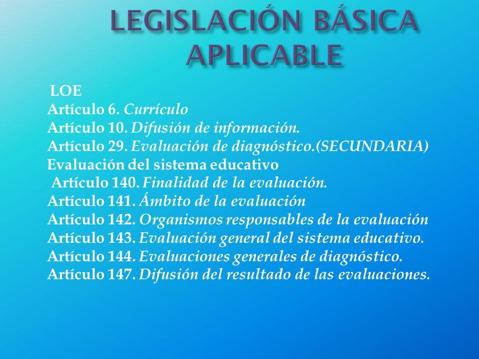 LOE Artículo 6. Currículo Artículo 10. Difusión de información. Artículo 29. Evaluación de diagnóstico.(SECUNDARIA) Evaluación del sistema educativo A