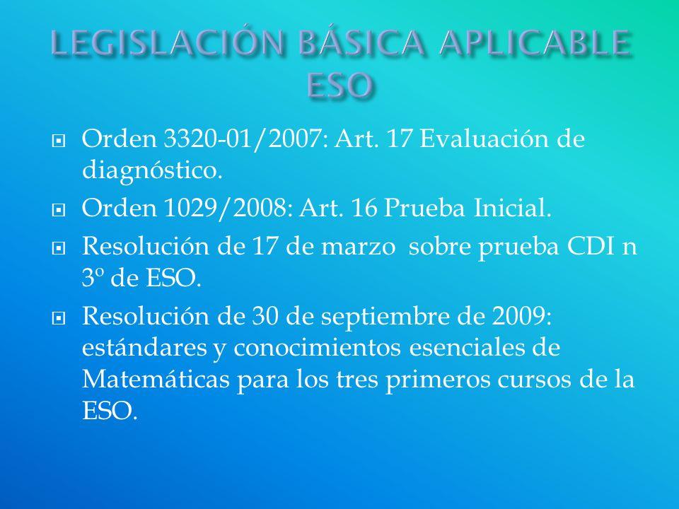 Orden 3320-01/2007: Art. 17 Evaluación de diagnóstico. Orden 1029/2008: Art. 16 Prueba Inicial. Resolución de 17 de marzo sobre prueba CDI n 3º de ESO