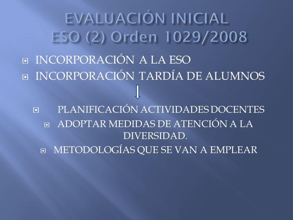 INCORPORACIÓN A LA ESO INCORPORACIÓN TARDÍA DE ALUMNOS PLANIFICACIÓN ACTIVIDADES DOCENTES ADOPTAR MEDIDAS DE ATENCIÓN A LA DIVERSIDAD.