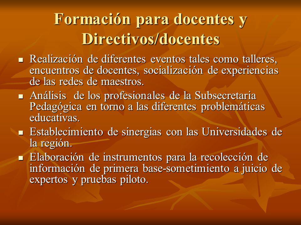 Formación para docentes y Directivos/docentes Realización de diferentes eventos tales como talleres, encuentros de docentes, socialización de experien
