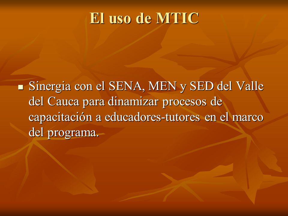 El uso de MTIC Sinergia con el SENA, MEN y SED del Valle del Cauca para dinamizar procesos de capacitación a educadores-tutores en el marco del progra