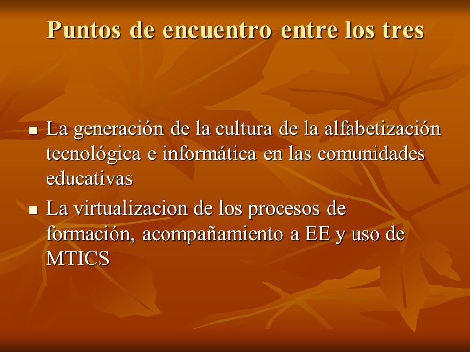 Puntos de encuentro entre los tres La generación de la cultura de la alfabetización tecnológica e informática en las comunidades educativas La generac