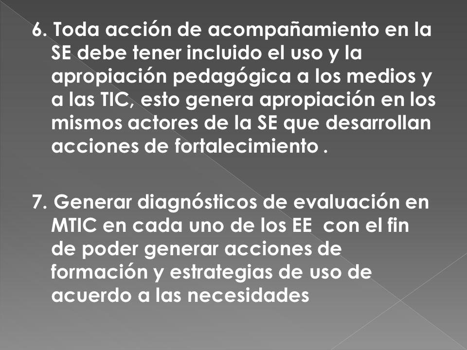 6. Toda acción de acompañamiento en la SE debe tener incluido el uso y la apropiación pedagógica a los medios y a las TIC, esto genera apropiación en